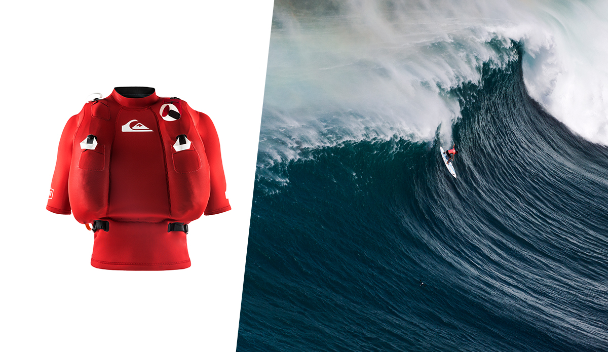 The Quiksilver Highline safety vest is designed to help save lives in situations like this one Koa Rothman finds himself in. Photos: (L) Quiksilver (R) Mike Coots