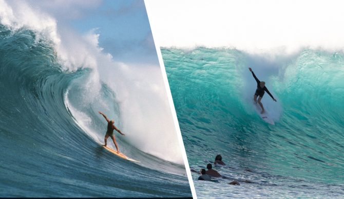 Like father, like son. Richard Schmit, who placed third at the 1990 Eddie, and his son, Richard Jr. share a few stylistic sensibilities in heavy surf, no? Photos: (L) Aaron Chang courtesy (R) Both Courtesy of Schmidt Family
