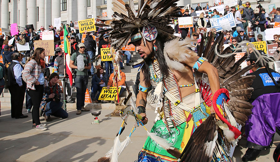 Supporters of the Bears Ears and Grand Staircase-Escalante national monuments during a rally Saturday, Dec. 2, 2017 in Salt Lake City. Image: AP Photo/Rick Bowmer