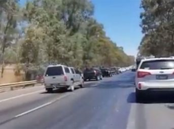 In Australia, temperatures are so high that the roads are literally melting.