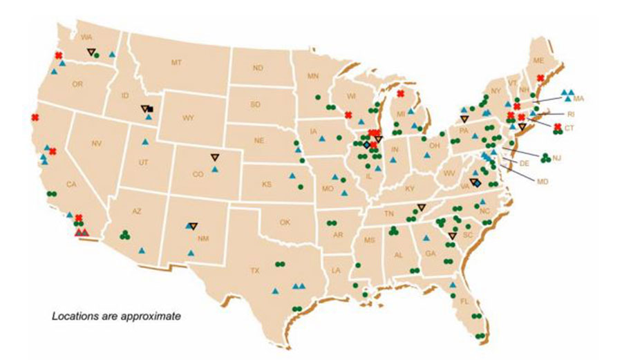 Oh shit, Illinois! You're sitting on a state full of nuclear waste! Image: DOE