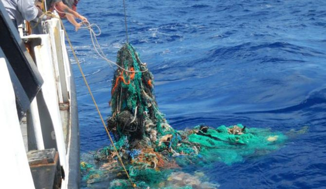 Some 46 percent of the Great Pacific Garbage Patch is thought to consist of abandoned fishing nets. Image: The Ocean Cleanup