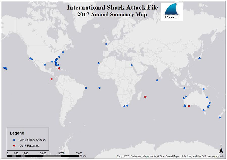 2017 global shark attack locations.