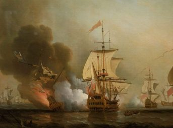 Explosion of San José during Wager's Action. Oil on canvas by Samuel Scott. Image: Wikimedia Commons