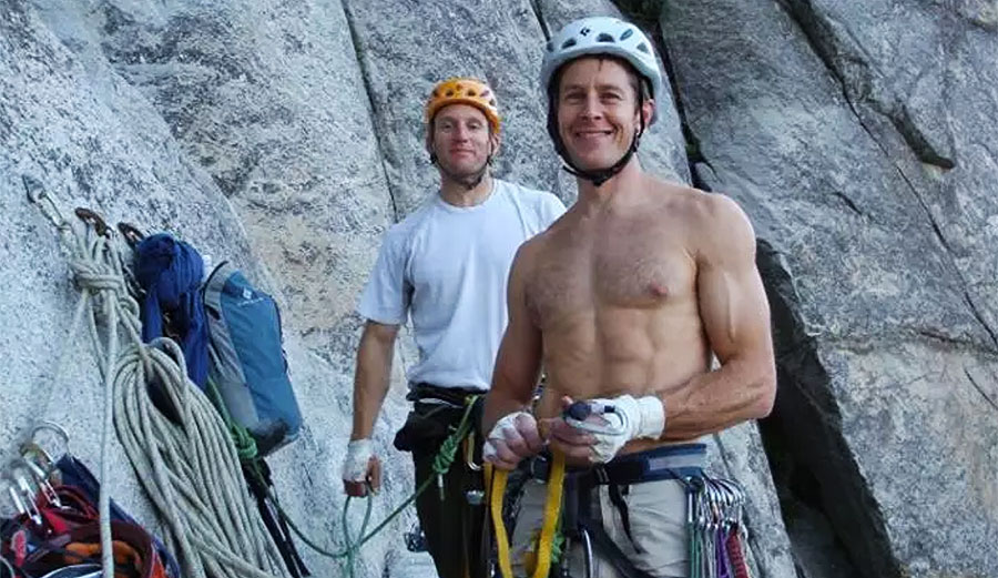 Klein and Wells on El Capitan's Heart Ledge in 2012. Photo: Jason Wells/Climbing.com