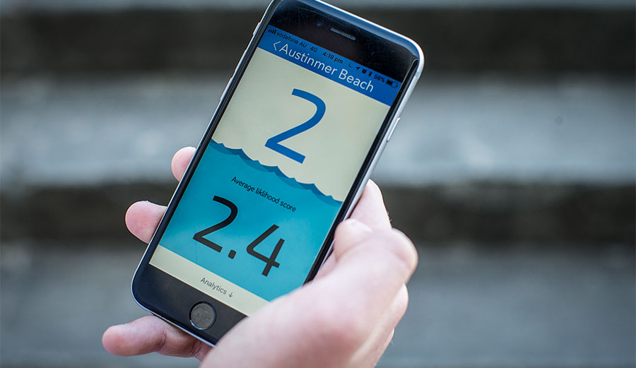 The app takes a variety of factors and puts them together to give you a number that correlates to the likelihood of a shark attack.