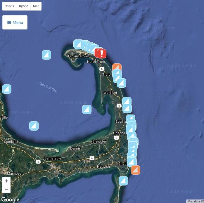 Cape Cod Lineup Evacuated as Shark Chomps on a Seal | The Inertia Cape Cod Shark Sightings Map on