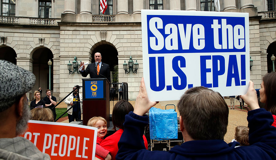 Rep. Dan Kildee, D-Mich., speaks about EPA Administrator Scott Pruitt and the state of the EPA during a protest on April 25, 2018, in Washington.