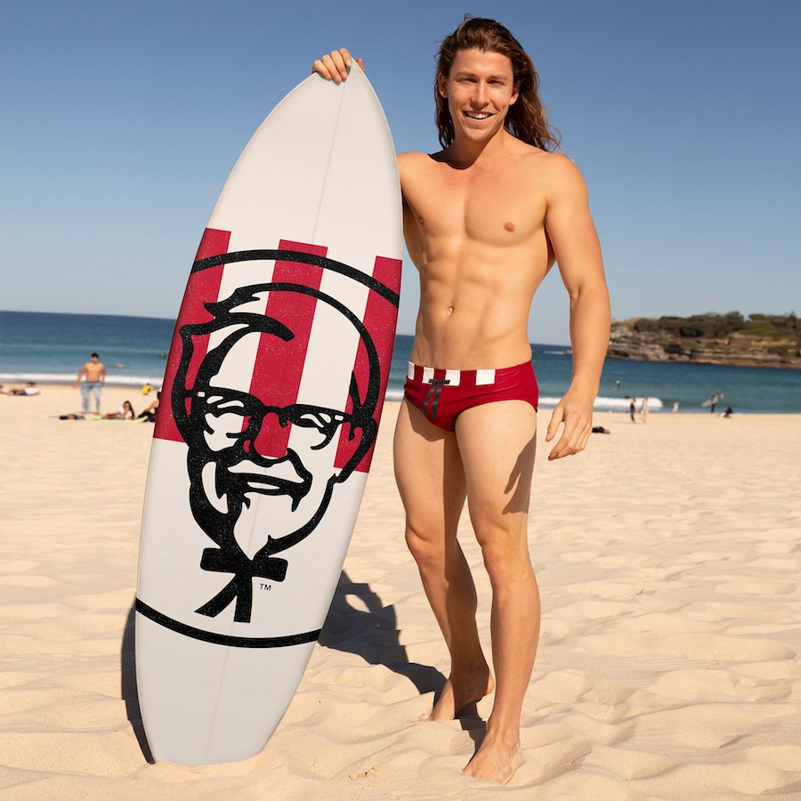 KFC Australia made this one-of-a-kind surfboard and it's already gone. Photo: KFC