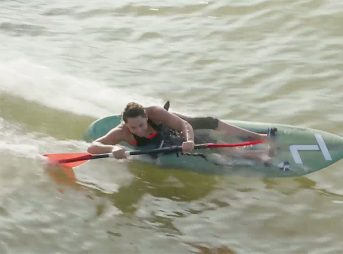 Paralympic gold medalist Alana Nichols at NLand wave park in Austin