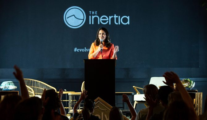 Tulsi Gabbard delivered a moving speech about the power of aloha at The Inertia's 2018 EVOLVE Summit. Photo: Aika Lau