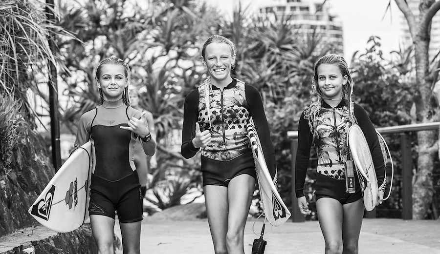 The future of surfing is just a little bit brighter for young girls who surf around the world in the wake of the WSL's historic pay equality announcement. Photo: Fran Miller