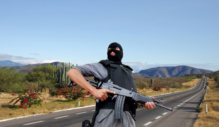 Mexican cartel member on Mexican road