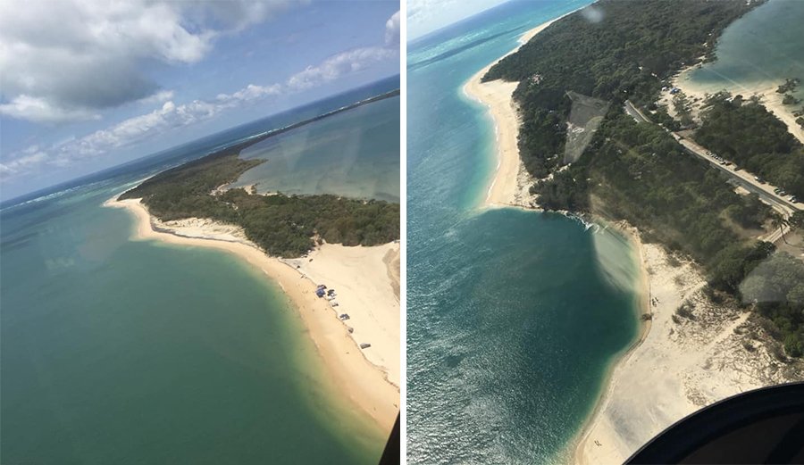 The photo on the left shows the area of beach intact back in February (left) and a photo taken on Monday (right) where the shoreline has eroded well into the treeline. Photo: Left: Leasha Langford/Facebook Right: Rainbow Beach Helicopters/Facebook