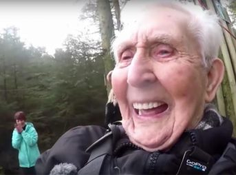 106-years-old, grandpa, Jack Reynolds, charity, zipline, abseiling, tattoo, giving,