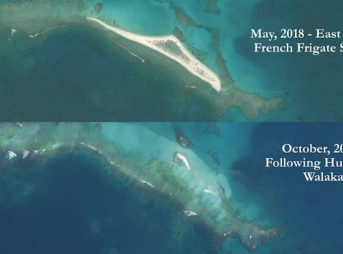Before and after pictures show East Island being completely wiped out by Hurricane Walaka earlier this month. Images: US Fish and Wildlife Service