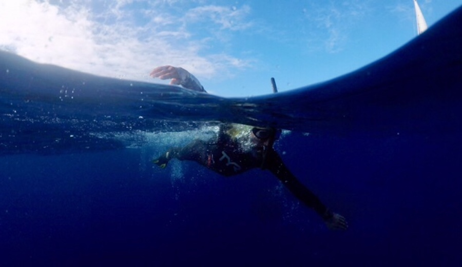 Ben Lecomte is a French swimmer attempting to be the first man to swim across the Pacific. And he's doing it to raise awareness about plastic pollution. Photo: benlecomte.com