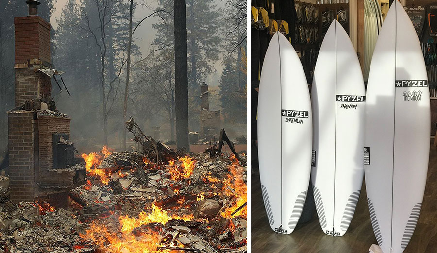 Pyzel surfboards raffle california wildfires