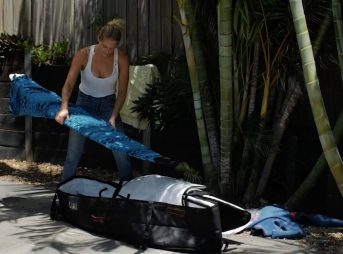 Steph Gilmore packs her coffin bag in four minutes flat.