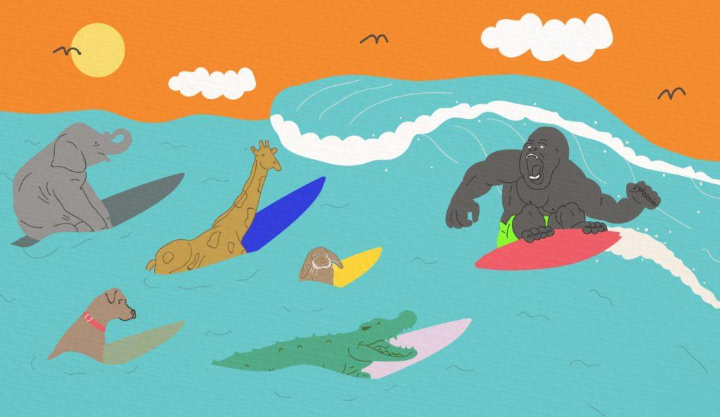Animal behavior and surfing go hand in hand. Art: @georgemussell