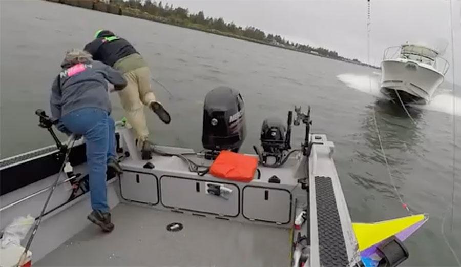 Fishermen leap from boat in crash