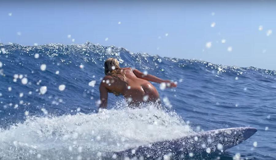 Felicity Palmateer surfing naked