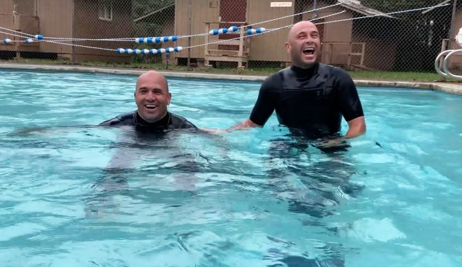 Kelly Slater and Shane Dorian test out the Ocean Warrior Course.