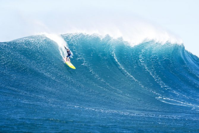 Paige Alms pushes the limits at Jaws. Photo: WSL/Cestari