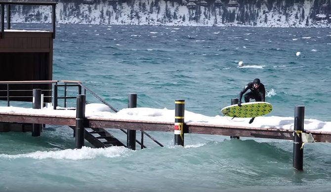 Ben Gravy surfs Lake Tahoe