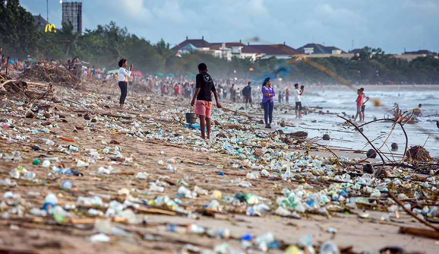 Plastic pollution on a beach on Bali, Indonesia.