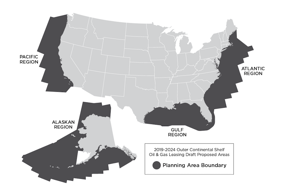 Map shows proposed areas for oil exploration in the US.