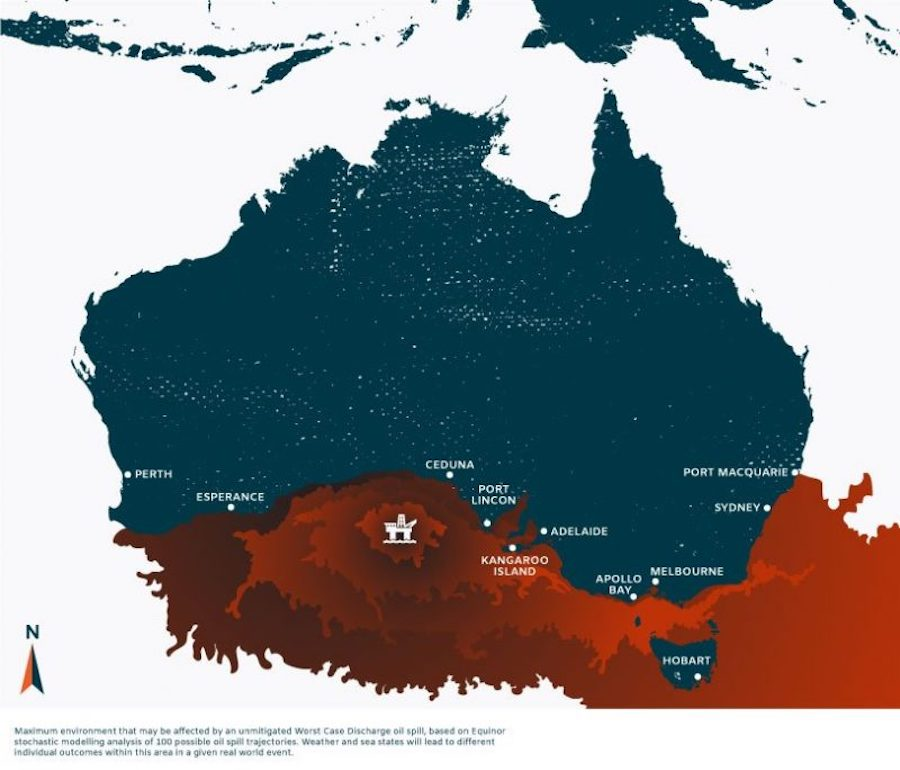 The potential outcome of a catastrophic event based on Equinor's own data could reach as far as Sydney.