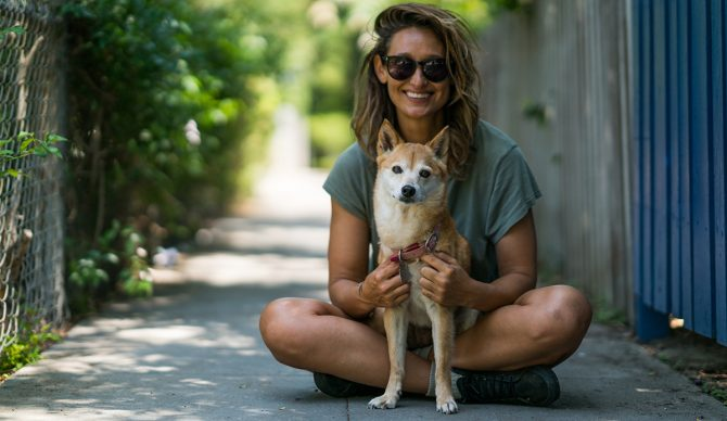 Kassia Meador and her dog Iruka in Venice for The Pup Project by The Inertia