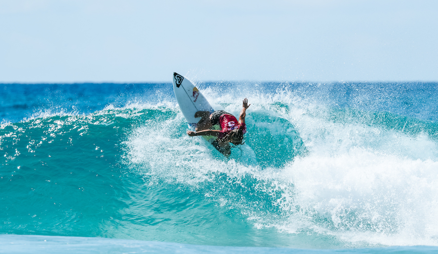 Marks' backhand attack has been compared to that of other famous goofy foots including Occy. Here's Marks going vert. Photo: WSL/ Cestari