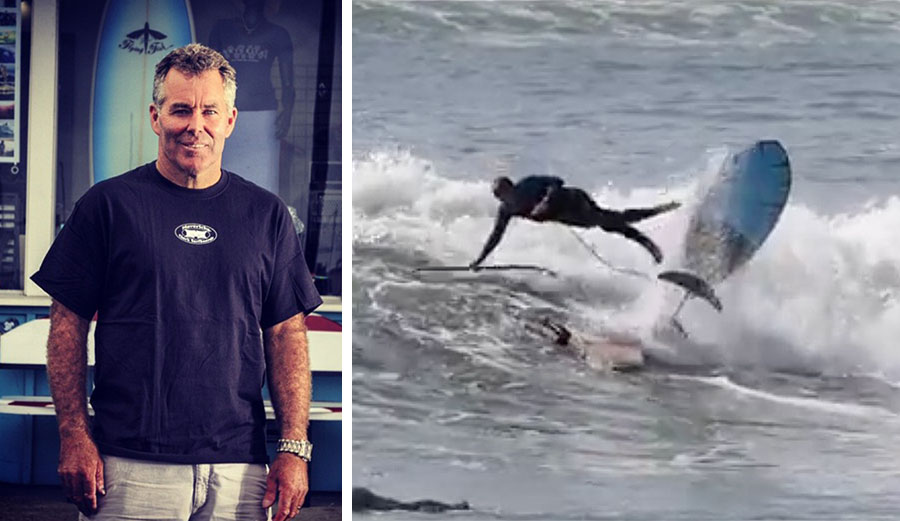 Jeff Clark hydrofoil surfing at Cowell's in Santa Cruz