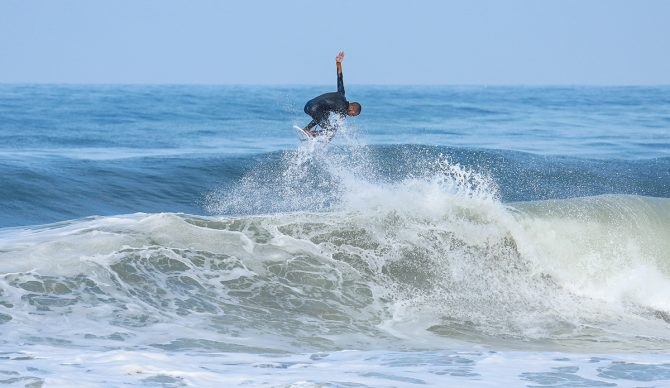 Hunter Jones surfs and does an air at El Porto
