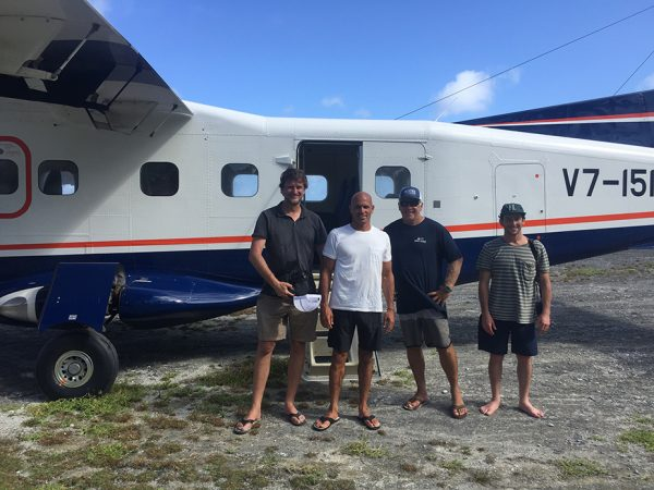 Here's to not blowing a dream trip with Kelly Slater and Jack Johnson. (Left to right.) The author, Jamie Tierney, Kelly Slater, Cap'n, and Todd Glaser. Photo courtesy Jamie Tierney
