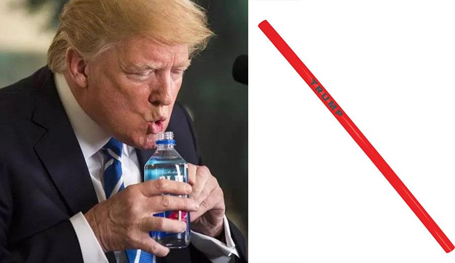 Donald Trump drinking