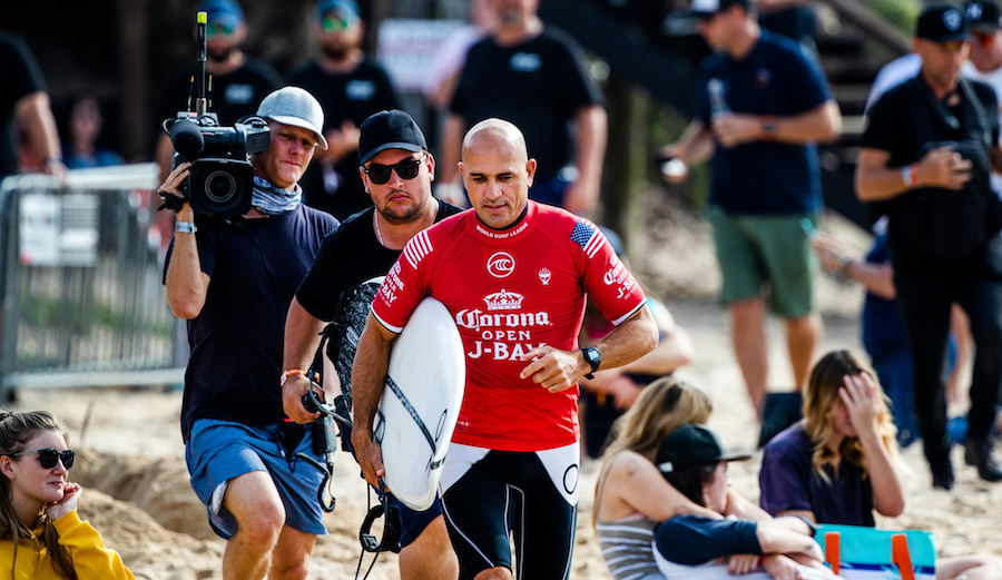 Kelly Slater competing at the 2019 Corona Open J-Bay