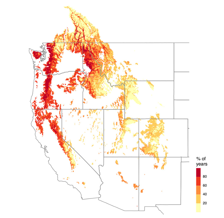 Under a high-emission scenario, the West could experience multiyear snow drought 42% of the time on average
