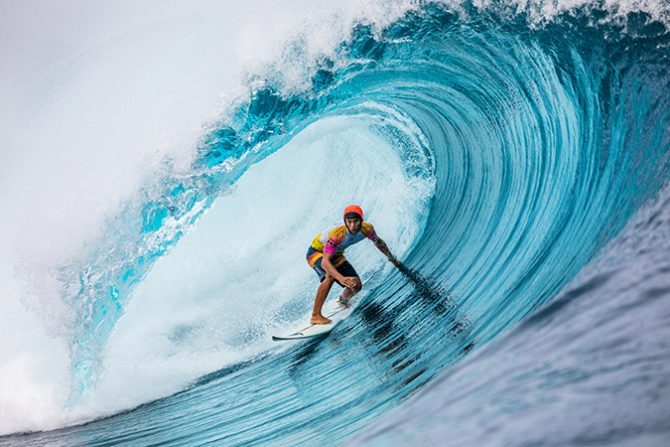 Owen Wright and other competitors wore helmets at Teahupo'o yesterday