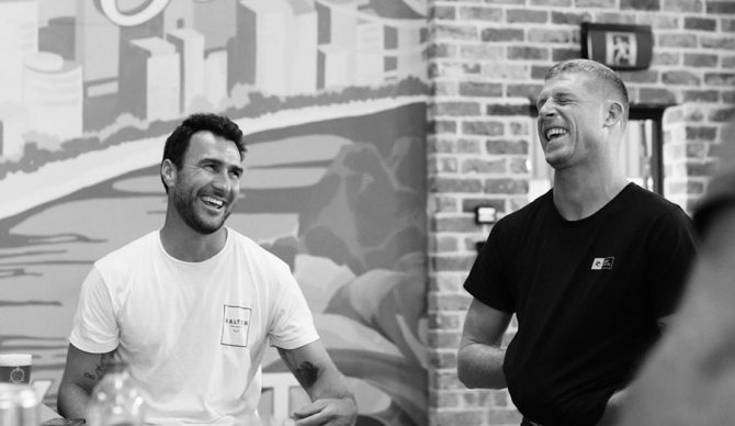 Mick Fanning and Joel Parkinson at Balter Brewery