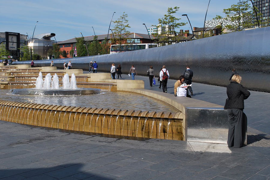 Fountains, like this Urban Splash fountain in Sheffield, U.K., provide visual and audio respite for city dwellers