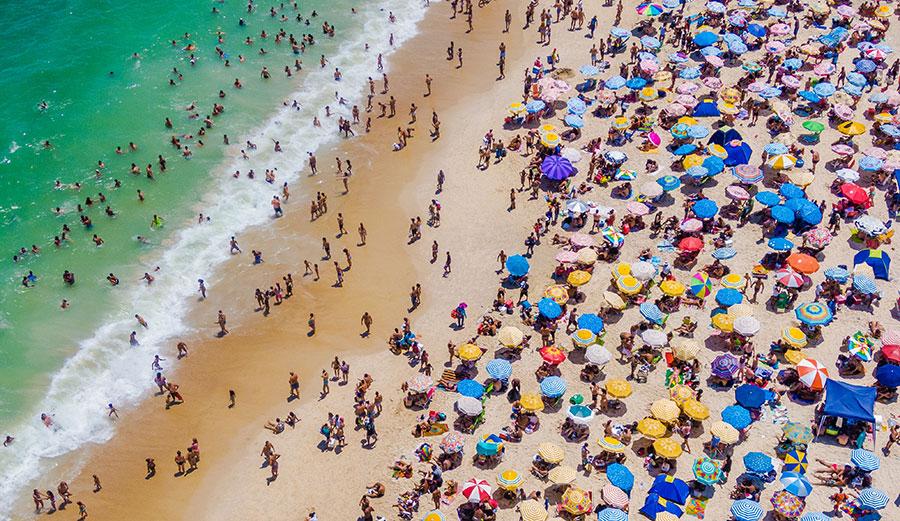 A crowded Copacabana Beach in Rio de Janeiro, Brazil.