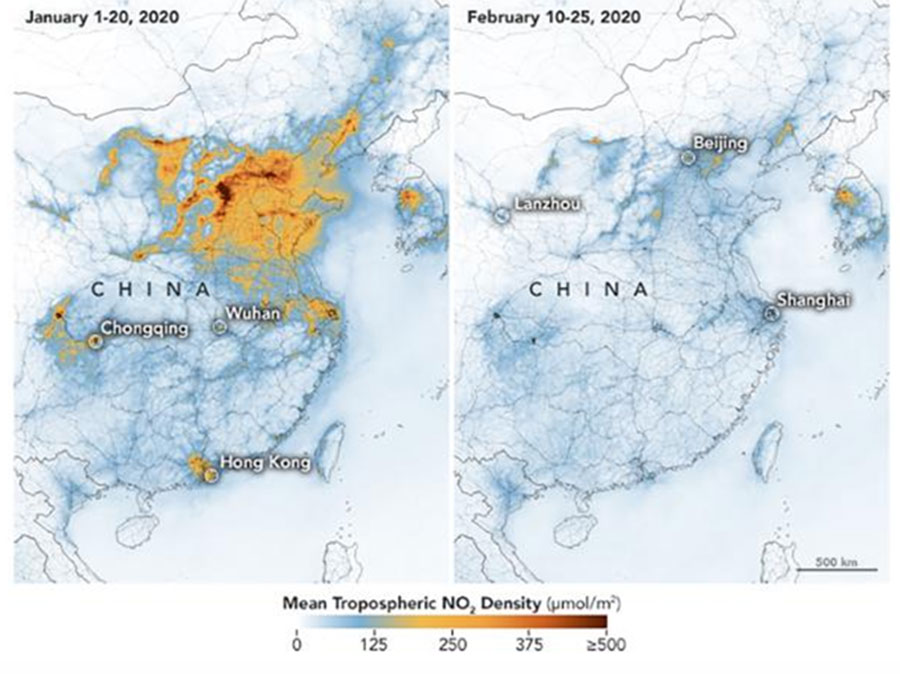 China air quality Coronavirus impact