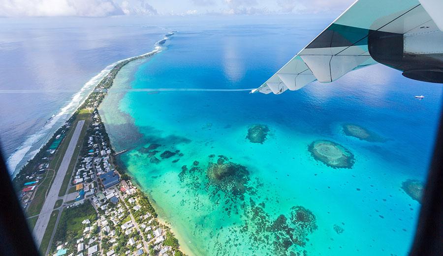 Funafuti atoll, Tuvalu, shows the airstrip of Vaiaku international airport.