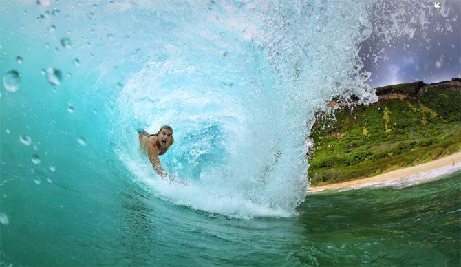 Bodysurfing at Sandy Beach
