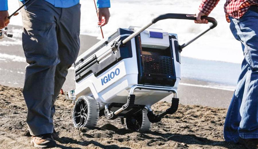 Igloo cooler on beach