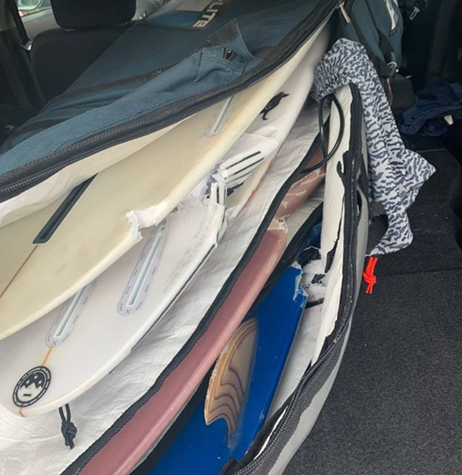 Broken boards in bag