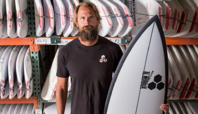 britt merrick with a channel islands surfboard